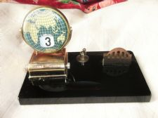 VINTAGE BLACK ONYX ? DESK FLIP ENAMEL TILES IN GLOBE PERPETUAL CALENDAR & HOLDER